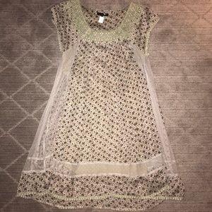 Lace Trim Print Dress